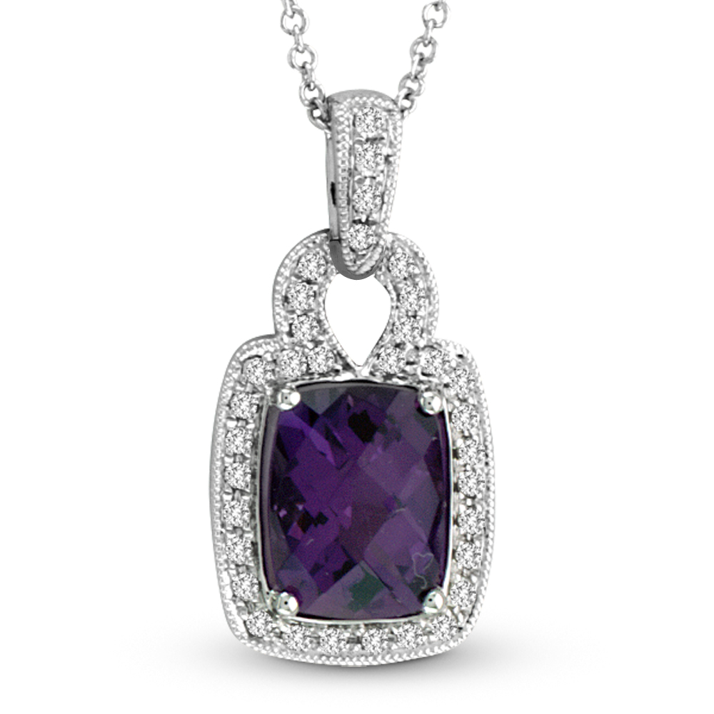 View 1.54ctw Diamond and Amethyst Fashion Pendant in 14k WG
