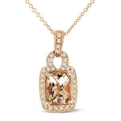 View Diamond and Morganite Fashion Pendant in 14k Rose Gold