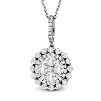 View 0.99cttw Diamond Cluster Fashion Pendant in 18K White Gold