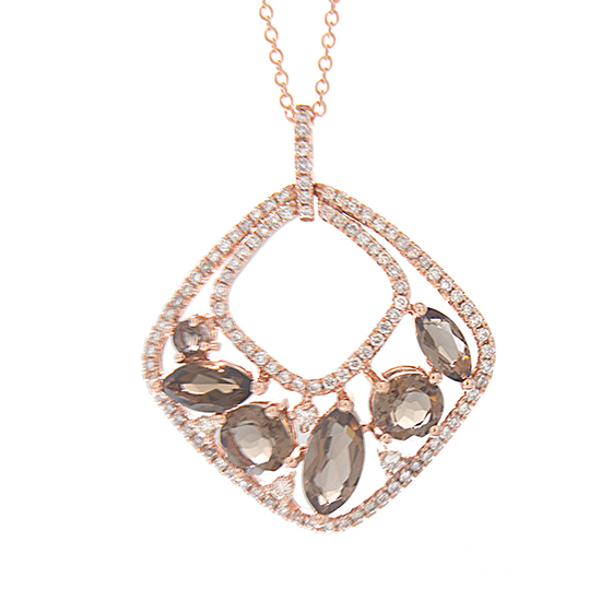 View 2.51cttw Diamond and Smokey Quartz Fashion Pendant in 14k Rose Gold