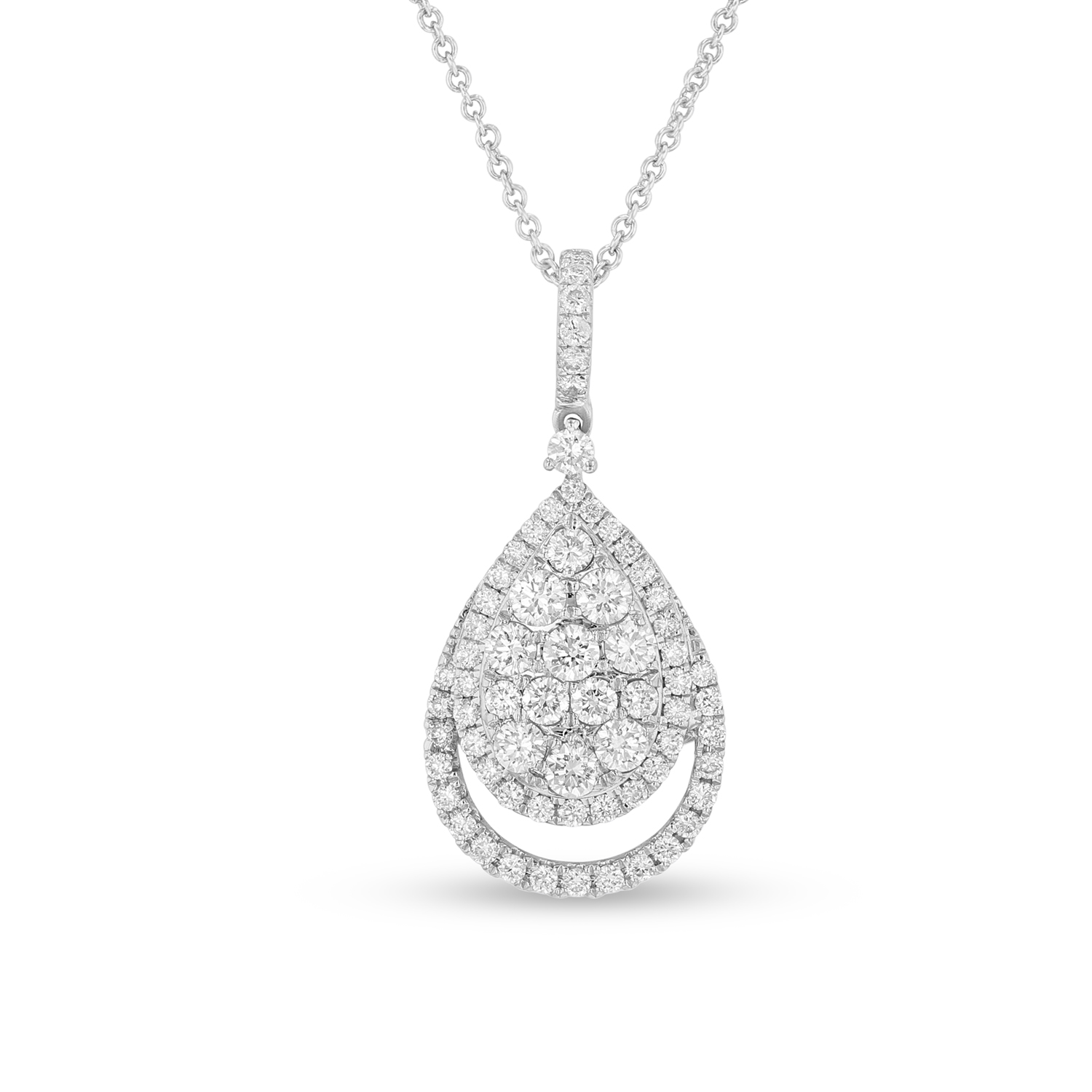 View 0.93ctw Diamond Pear Shaped Cluster Pendant in 18k White Gold