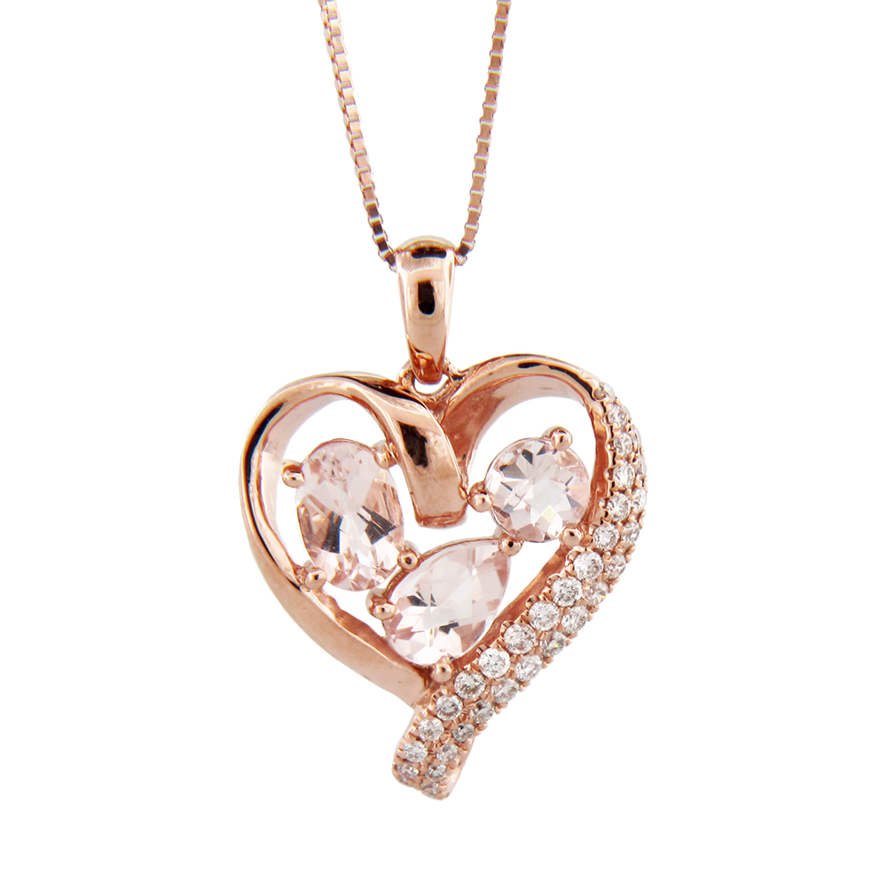 View 1.06cttw Morganite and Diamond Heart Pendant in 14k Rose Gold