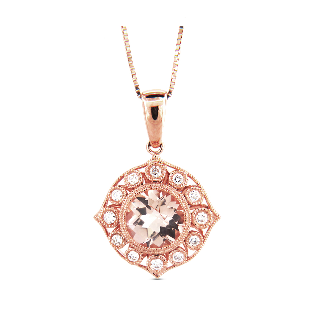 View 1.28cttw Morganite and Diamond Pendant in 14k Rose Gold