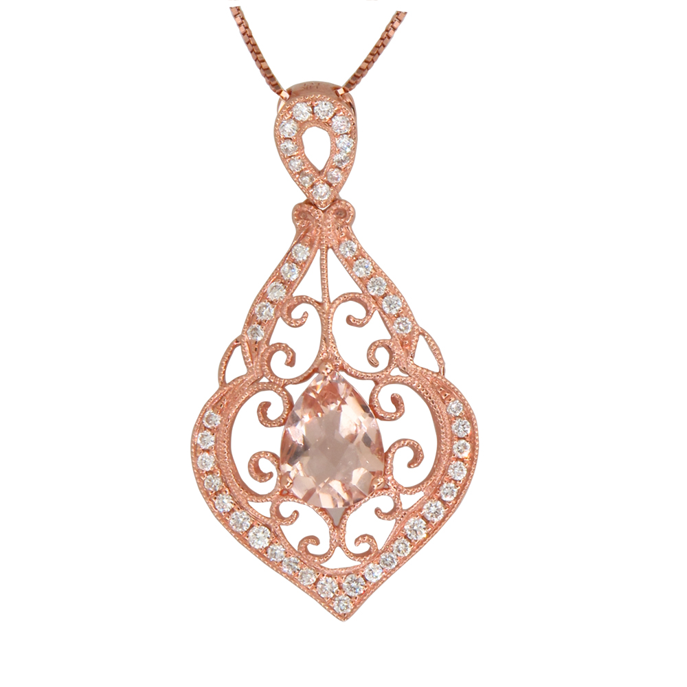 View 0.27ctw Diamond Morganite Fashion Pendant in 14k Rose Gold