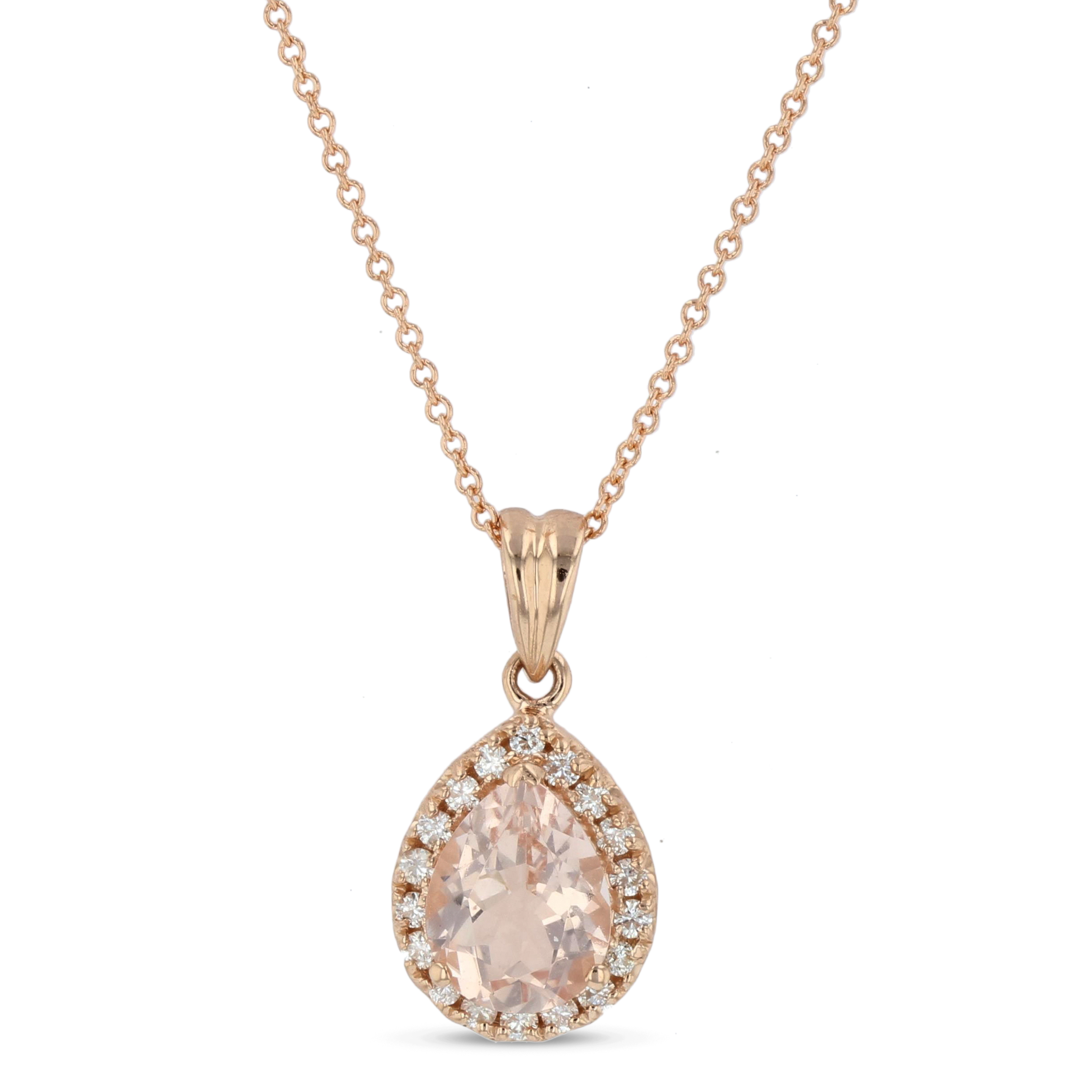 View 1.70ctw Diamond and Morganite Pendant in 14k Rose Gold