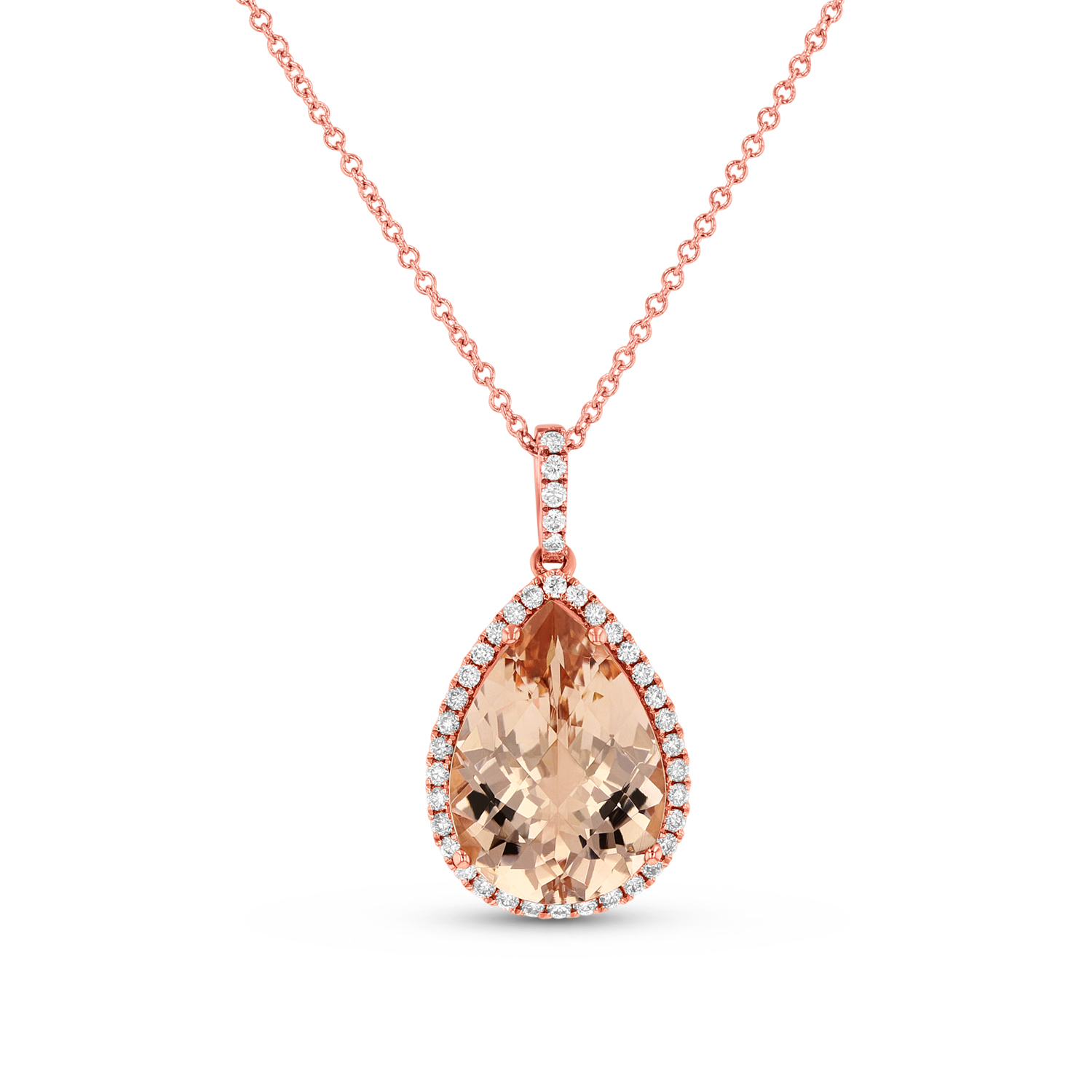 View Diamond and Morganite Pendant in 14k Rose Gold