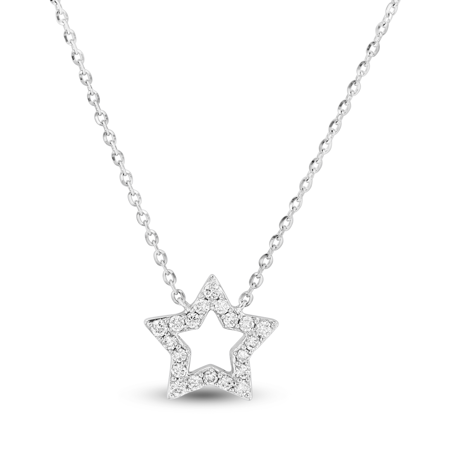 View 0.15ctw Diamond Star Shaped Pendant in 14k White Gold