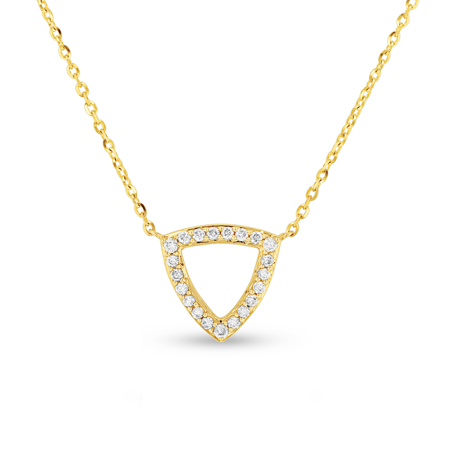 View 0.10ctw Diamond Triangle Pendant in 14k Yellow Gold