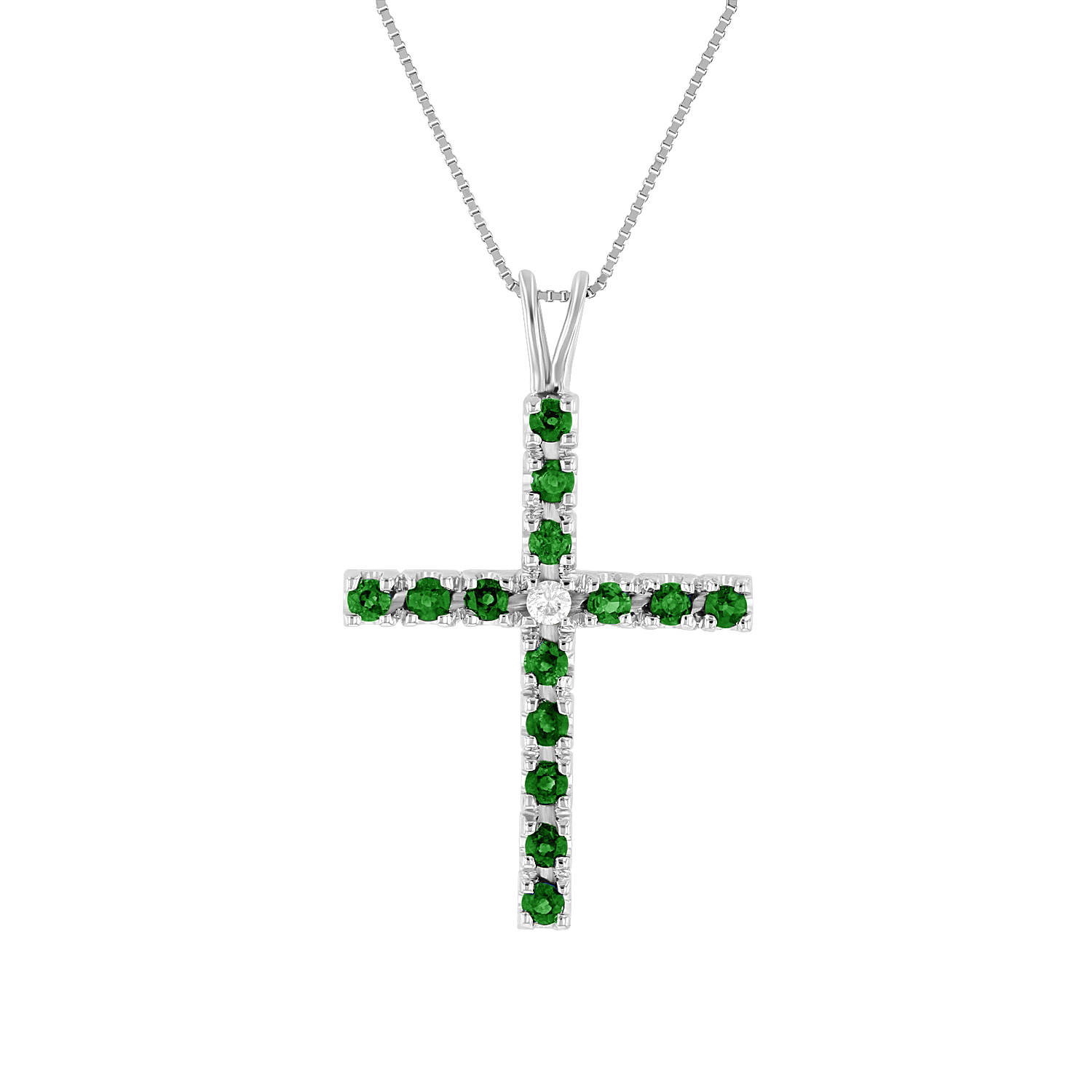 View 0.75ctw Diamond and Emerald Cross Pendant in 14k White Gold