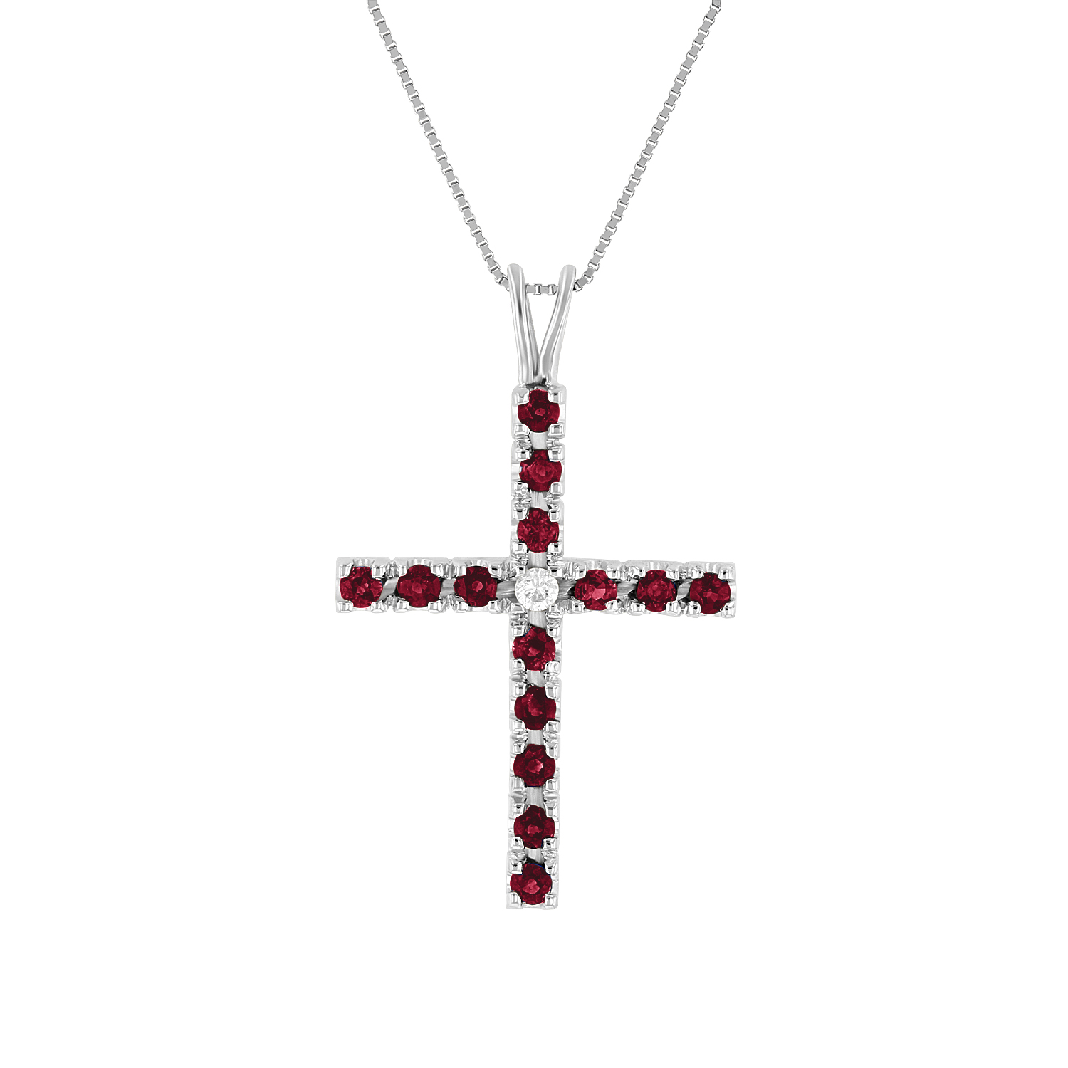 View 0.79ctw Diamond and Ruby Cross Pendant in 14k White Gold