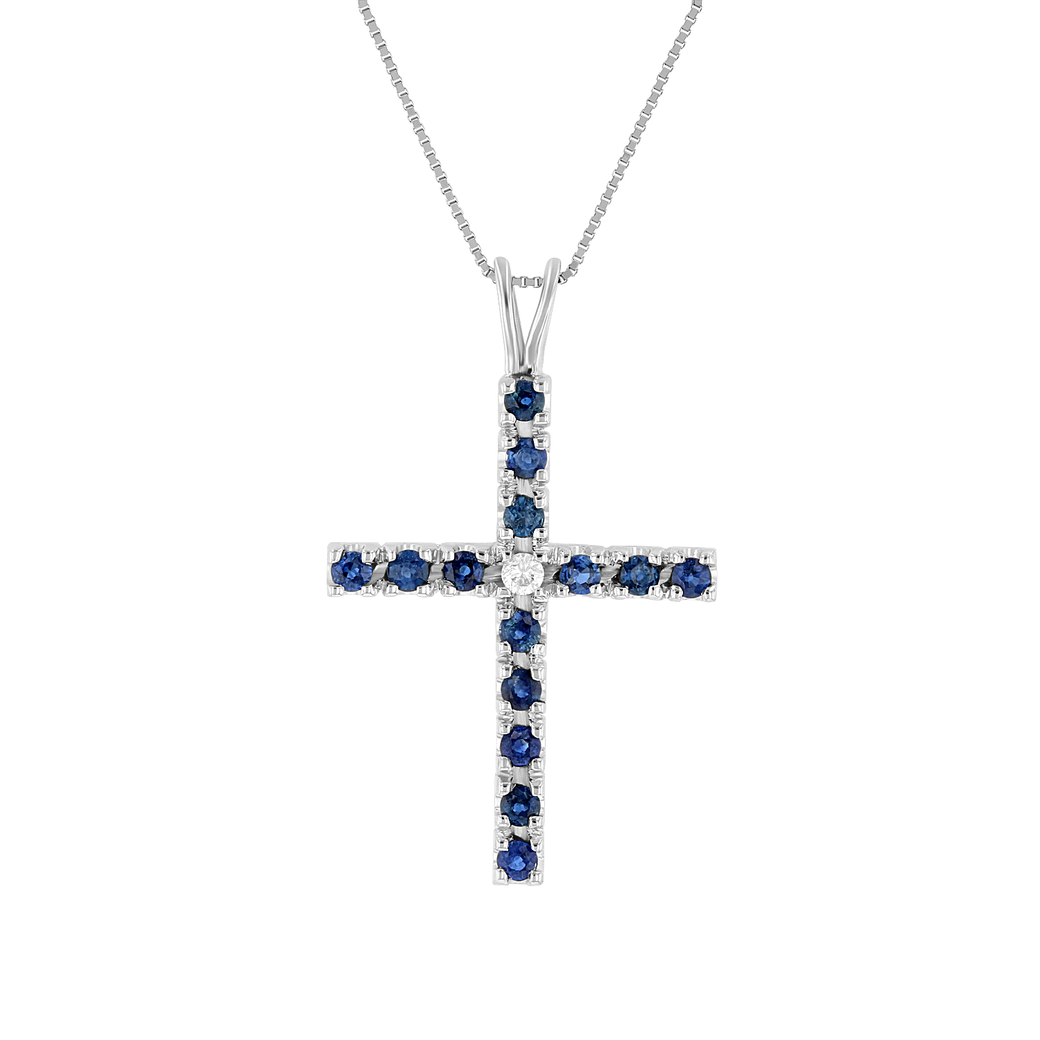 View 0.74ctw Diamond and Sapphire Cross Pendant in 14k White Gold