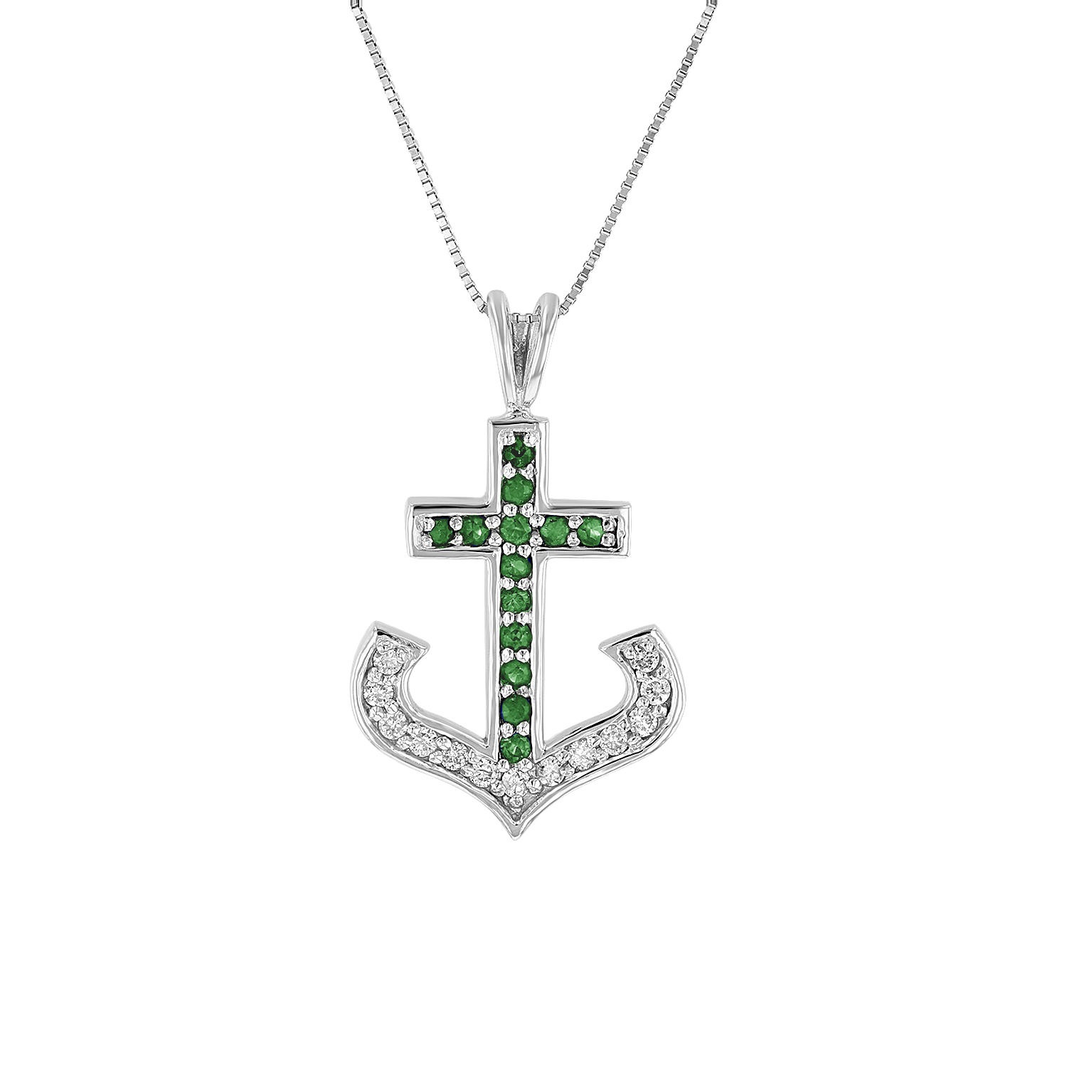 View 0.50ctw Diamond and Emerald Anchor Cross Pendant in 14k White Gold