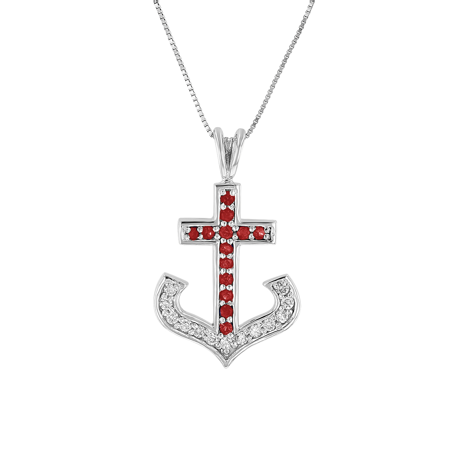 View 0.50ctw DIamond and Ruby Anchor Cross Pendant in 14k White Gold