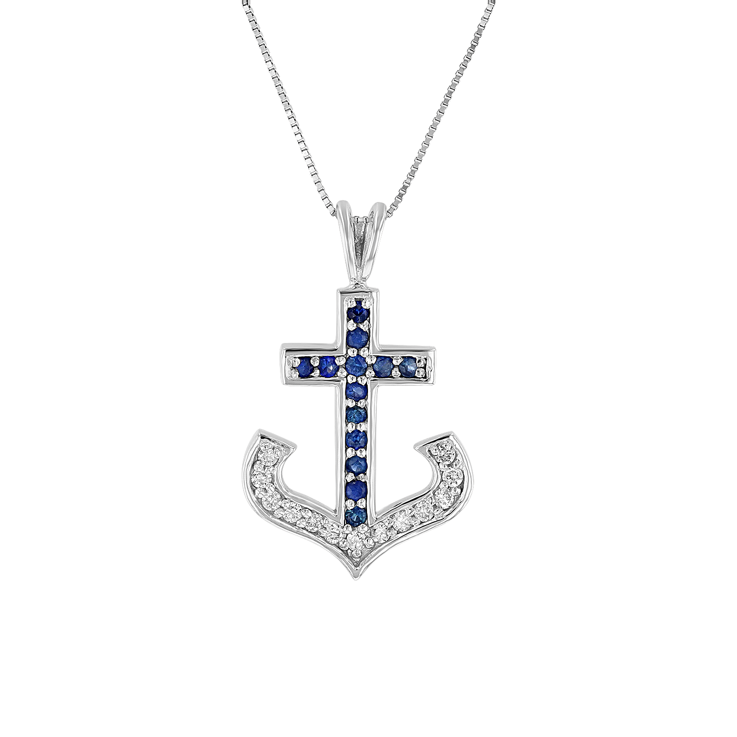 View 1/2ctw Diamond and Sapphire Anchor Pendant in 14k White Gold
