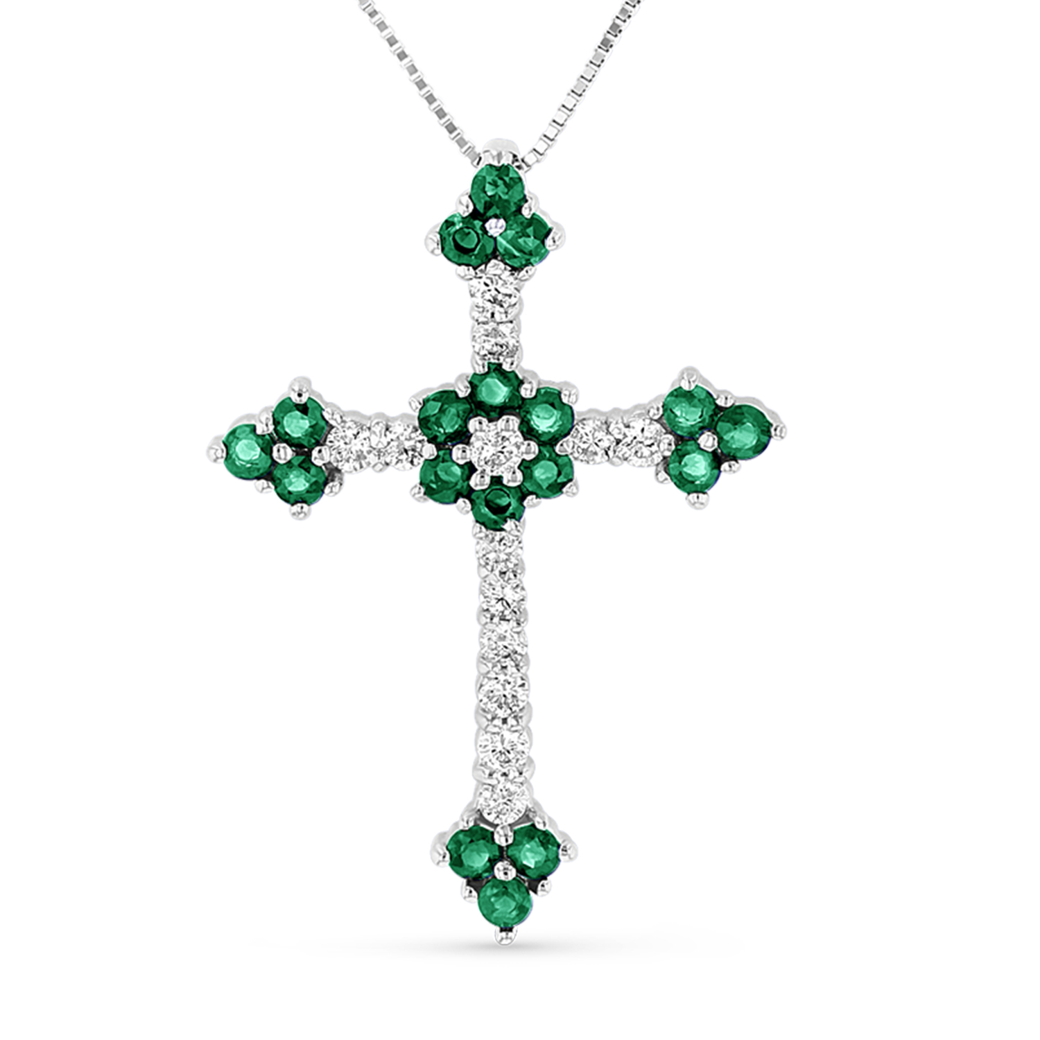 View 1.10ctw Diamond and Emerald Cross Pendantt in 14k White gold