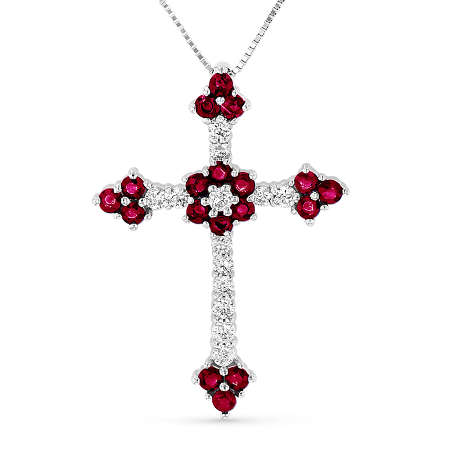 View 1.10ctw Diamond and Ruby Cross Pendantt in 14k White gold