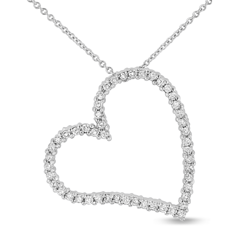 View 0.50ctw Diamond Heart Pendant in 14k White Gold