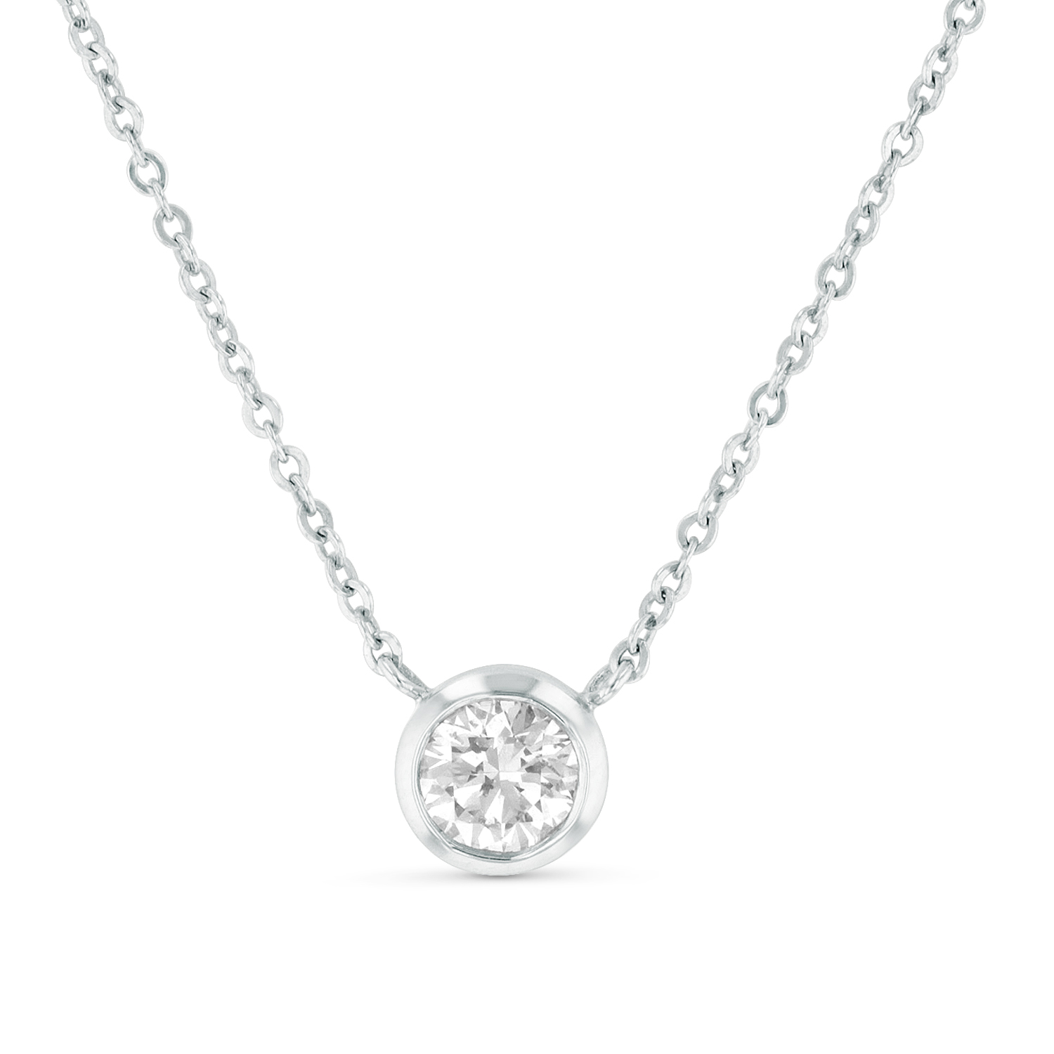View 0.50ct Bezel Set Solitaire Pendant in 14k Gold
