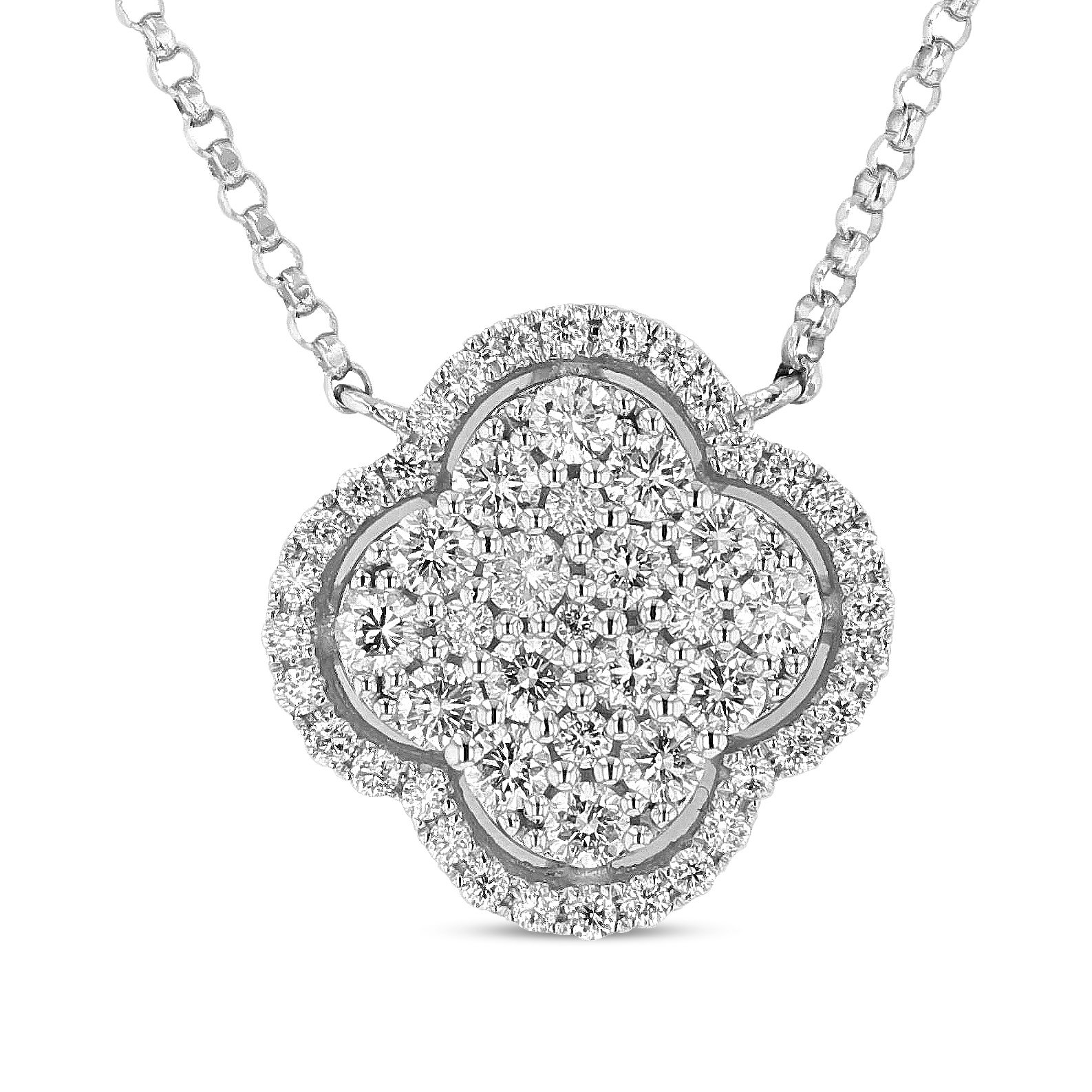 View 0.68ctw Diamond Clover Pendant in 18k White Gold