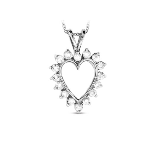 View 0.50cttw Diamond Heart Pendant set in 14k Gold