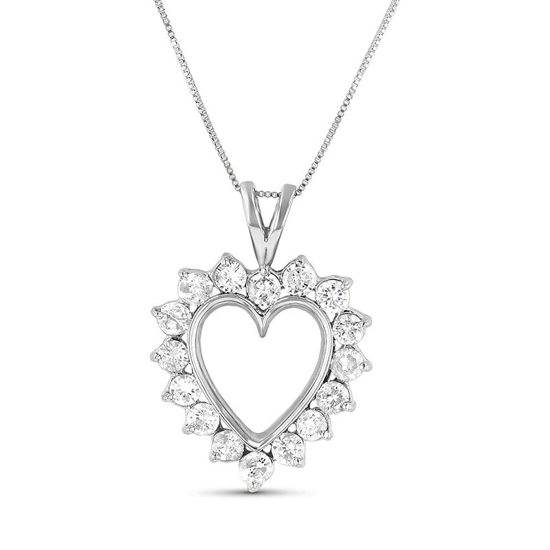 View 0.75cttw Diamond Heart Pendant set in 14k Gold