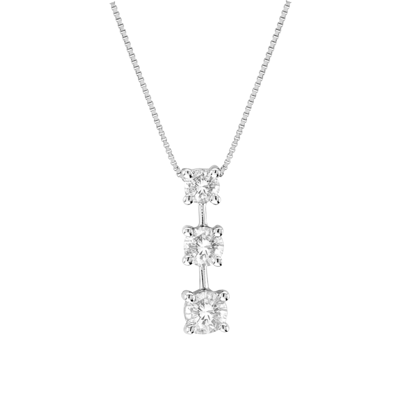 View 0.50ct tw 3 Stone 14k Gold Past Present Future Pendant GH-SI Quality. Box Chain Included