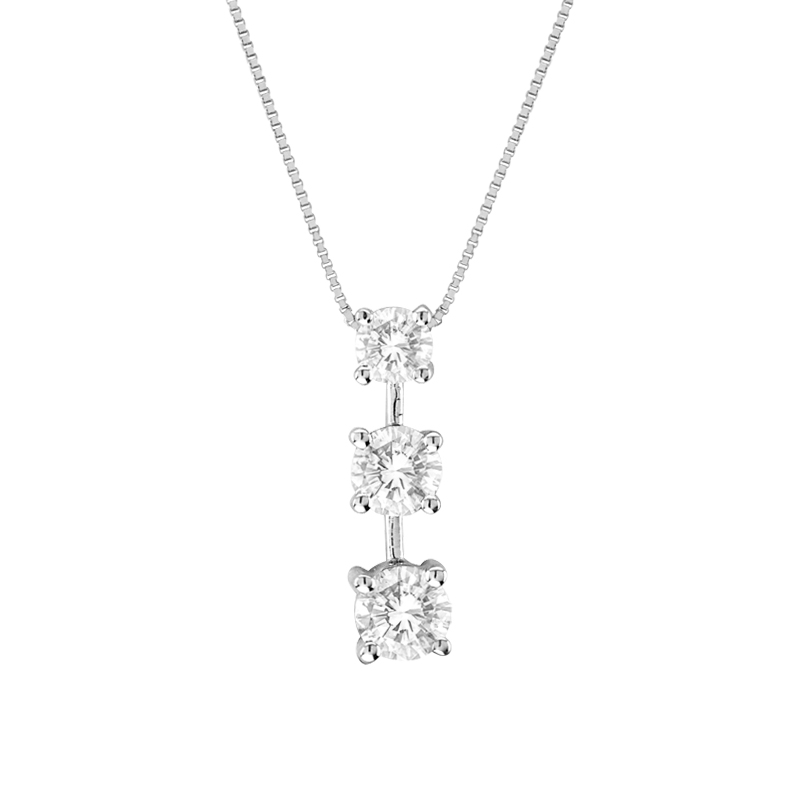View 1.00ct tw 3 Stone 14k Gold Past Present Future Pendant GH-SI Quality. Box Chain Included