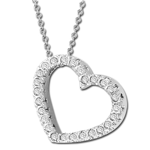 View 14k Gold 0.75 ct Diamond Heart Pendant with 16 inch Chain