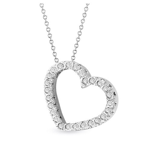 View 14k Gold 0.50 ct Diamond Heart Pendant with 16 inch Chain