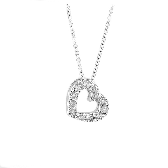View 14k Gold 0.25 ct Small Diamond Heart Pendant with 16 inch Chain