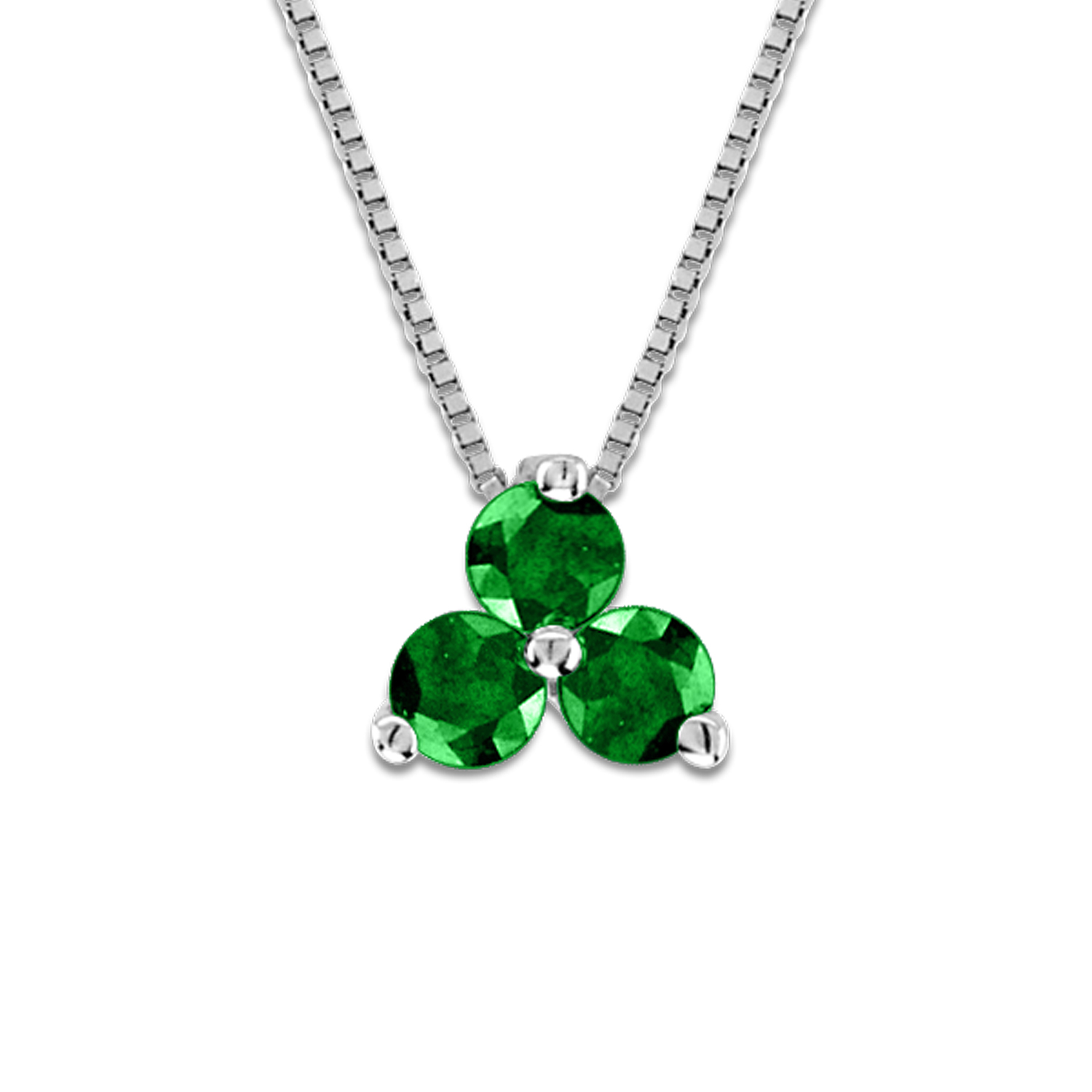 View 0.15cttw Emerald Three Stone Pendant in 14k Gold