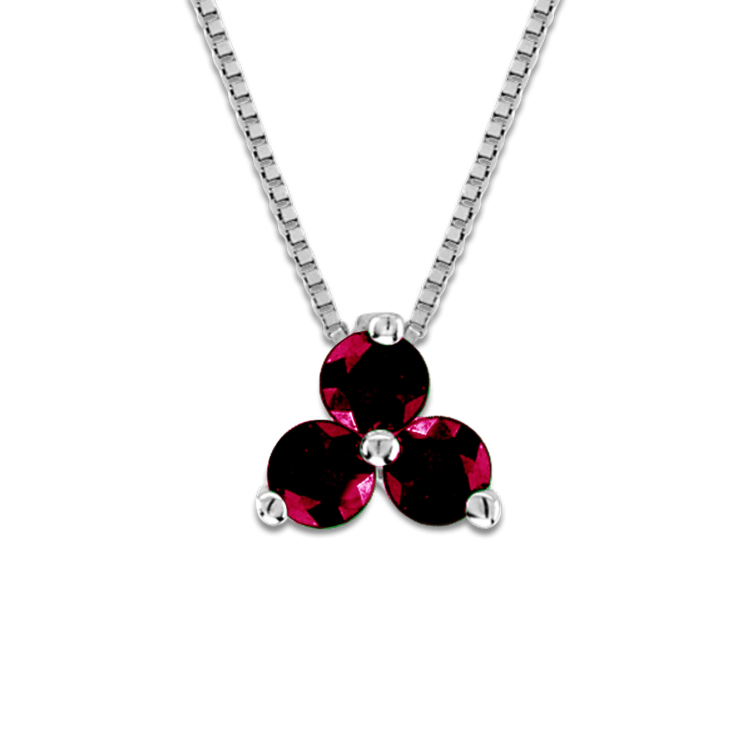 View 0.20cttw Ruby Three Stone Pendant in 14k Gold