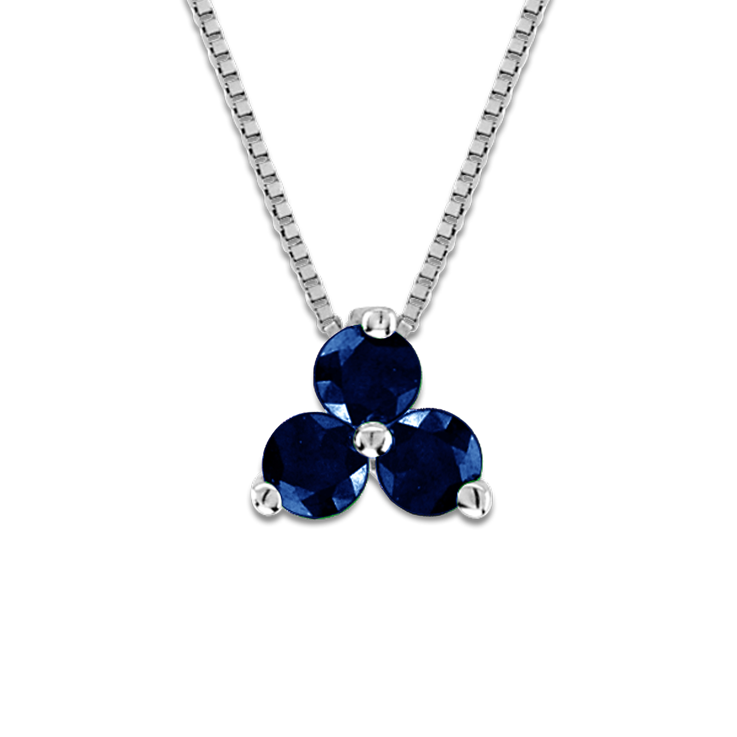 View 0.30cttw Sapphire Three Stone Pendant in 14k Gold