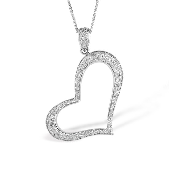 View 14k Gold Micro Pave set Heart Pendant with 1.25ct tw of Diamonds