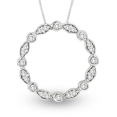 View 14k Gold Circle of Love Pendant with 0.50ct tw of Diamonds. Chain Included (1 Inch Diameter)