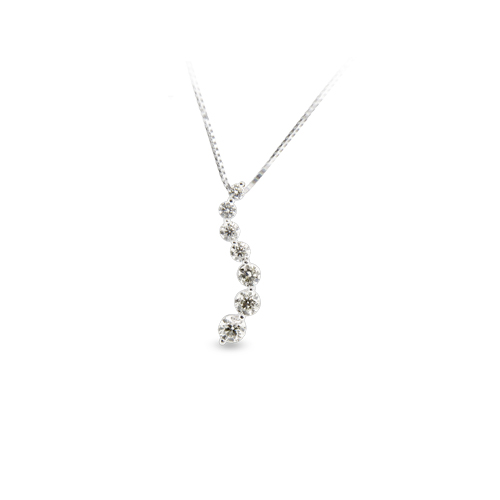 View 0.25ct tw Diamond 14k Gold Journey Pendant I-I quality Chain Included