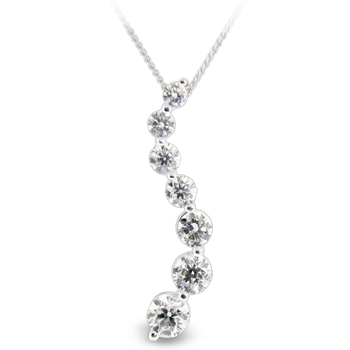 View 3.00ct tw Diamond 14k Gold Journey Pendant HI-SI quality Chain Included
