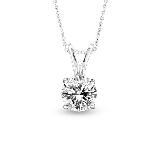 View 0.40ct Solitaire Pendant Set in 14k Gold I-I Quality Round Diamond