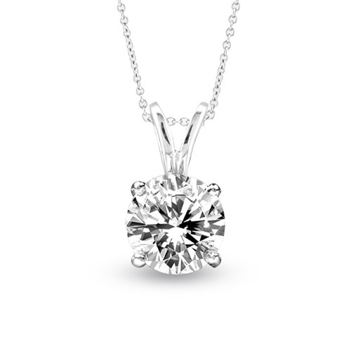 View 0.75ct Solitaire Pendant Set in 14k Gold I-I Quality Round Diamond