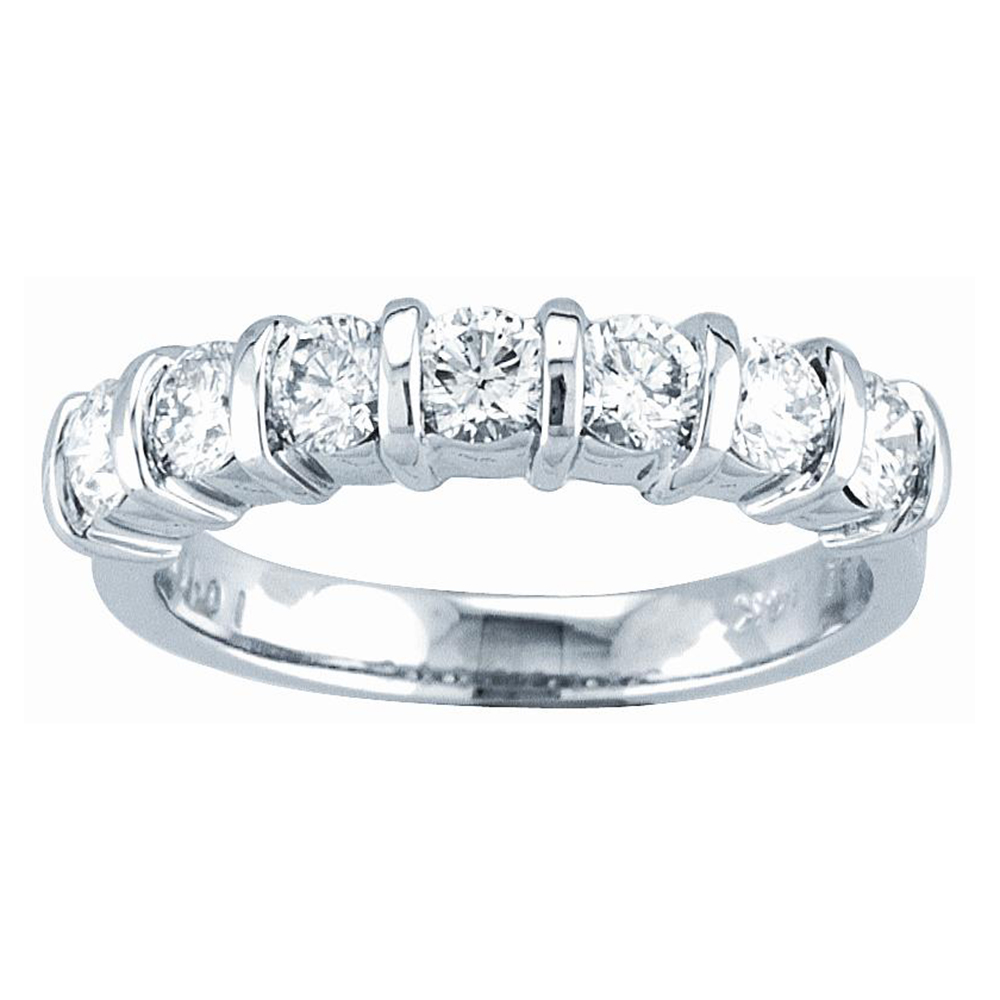 View 1.00ct tw 7 Stone Round Diamonds Bar Set Anniversary or Wedding Band 14k Bridal Ring