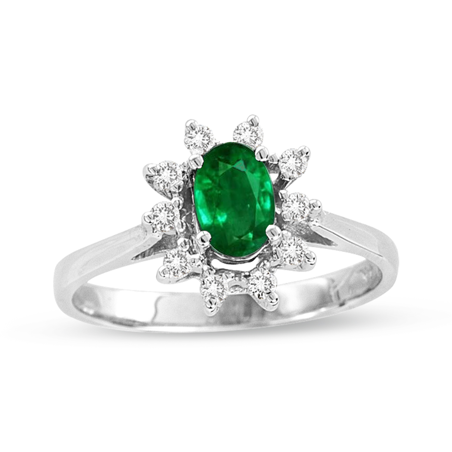 0.61ct tw Oval Emerald and Diamond Ring in 14k Gold