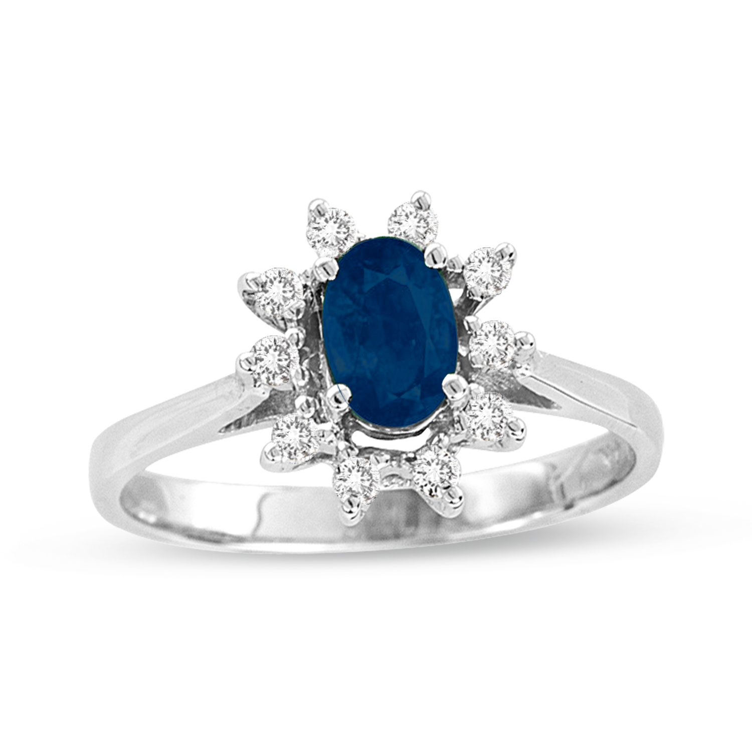 0.75ct tw Oval Sapphire and Diamond Ring in 14k Gold