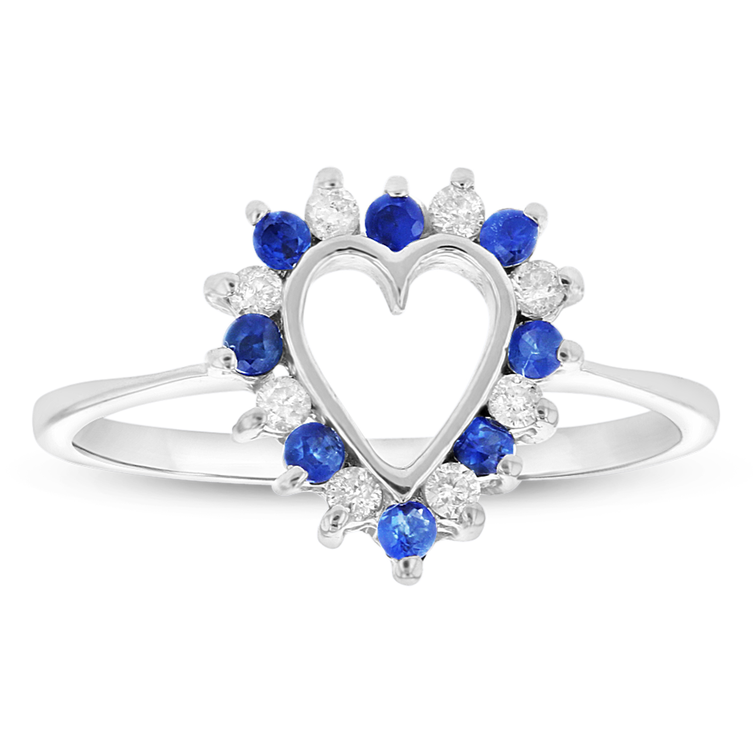 View 0.15ctw Diamond and Sapphire Heart Shaped Ring in 14k White Gold