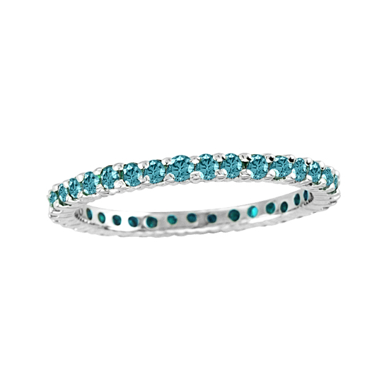 View 0.50cttw Blue Diamond Eternity Ring in 14k Gold