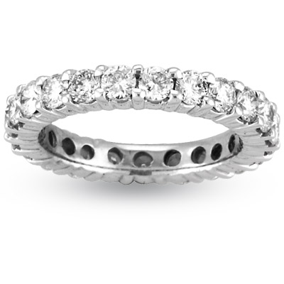 View 3.00ct tw H-I SI Quality Shared Prong All Around Eternity Band set in 14k Gold. Fit to Your Finger Size (R)