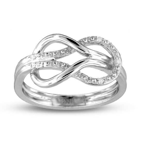 0.02 ct Sterling Silver Infinity Diamond Ring (Sizes 5,6,7,8 only)