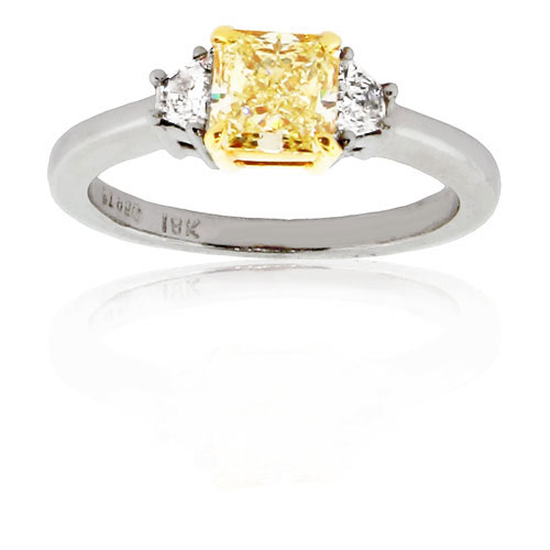 View 1.02ct Natural Fancy Yellow Three Stone Engagement Ring set in Platinum and 18k gold with a VS1 EGL Certificate
