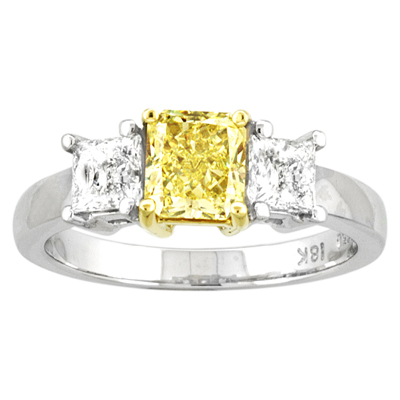 LeVaron 1.50ct tw Natural Fancy Yellow Three Stone Diamond Engagement Ring 0.90ct Center Radiant Cut set in 18k Gold - 5 at Sears.com
