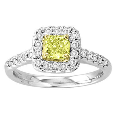 0.80ct tw Square Natural Fancy Yellow & Round Diamonds Fashion Antique Looking Engagement Ring 18k Gold