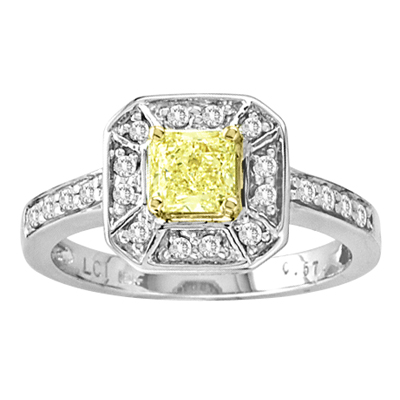 0.78cttw Natural Fancy Yellow Diamond Fashion Engagement Ring set in 18k Gold